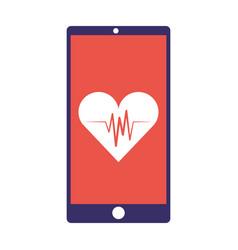 smartphone healthcare heartbeat app vector image