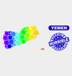 Spectral mosaic yemen map and grunge horrible vector