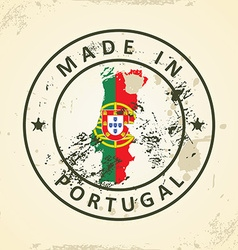 Stamp with map flag of Portugal vector