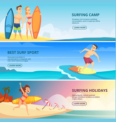 surfing banners surfers people vector image