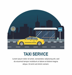 taxi stopped at the bus stop on night city vector image