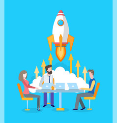 team developing startup spaceship or rocket start vector image