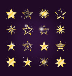 Twinkle and light golden star icons vector