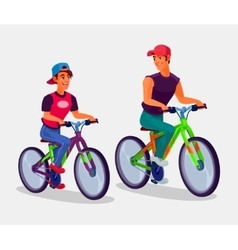 Two young men riding bicycles vector image