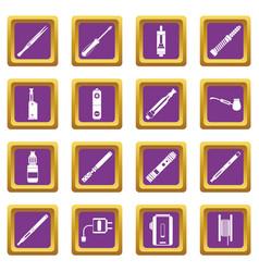 Vaping icons set purple vector