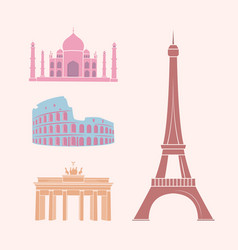 World famous sights and landmarks travel stickers vector