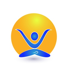 Yoga and sun logo vector image