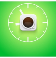 Background cup of coffee and time vector image vector image
