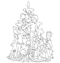 children and christmas tree coloring page vector image