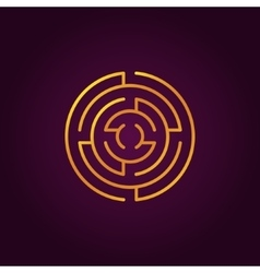 Round gold labyrinth line icon vector image vector image