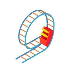 Swing roller coaster icon cartoon style vector image