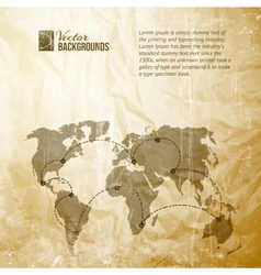 World map in vintage pattern vector