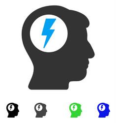 Brain electric shock flat icon vector