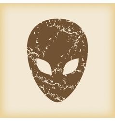 Grungy alien icon vector image vector image