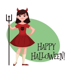 Happy girl dressed as devil for Halloween vector image