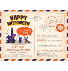 Happy Halloween party Vintage Postcard invitation vector image