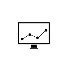 market monitoring solid icon computer analysis vector image vector image