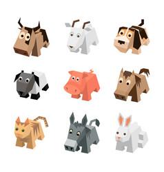 Set of different cartoon isometric animals vector