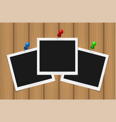 set of square frames on pins with shadows on vector image vector image