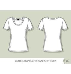 Women short sleeve round neck t-shirt Template vector image vector image