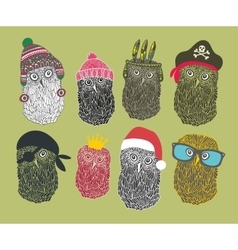 Collection of cute owls in costumes vector image vector image