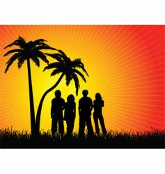 friends under palm trees vector image vector image