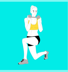 girl is doing sports exercises with dumbbells vector image vector image