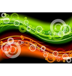 green and red neon light on the dark background vector image vector image