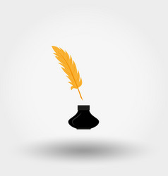 inkwell and feather icon flat vector image