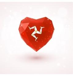 Isle of Man flag in shape diamond glass heart vector image