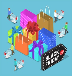 Isometric people shopping in black friday sale vector image vector image