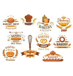 Large set of bakery labels or badges vector image vector image