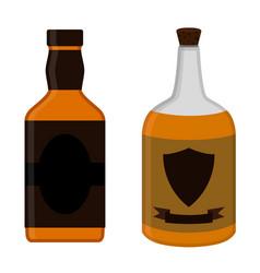 rum bottles set alcohol drink flat style design vector image