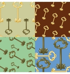 Set of seamless patterns with gold keys vector image