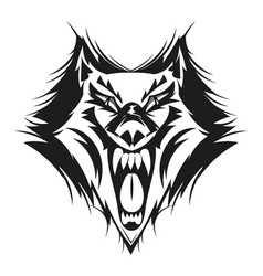 fierce wolf face vector image vector image