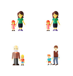 flat icon relatives set of boys daugther vector image vector image