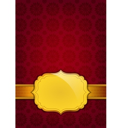 Red abstract texture and golden ribbon vector image vector image