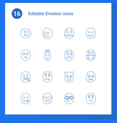 16 emotion icons vector