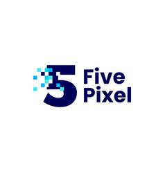 5 five number pixel mark digital 8 bit logo icon vector image