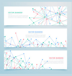 Abstract digital banners set with wire mesh lines vector