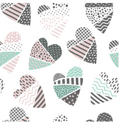 Abstract memphis seamless pattern with hearts vector