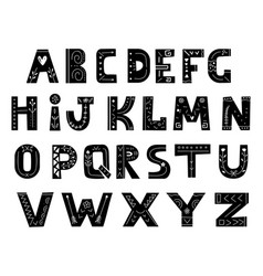 alphabet in scandinavian style hand drawn letters vector image