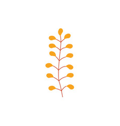 autumn plant branch with orange leaves - seasonal vector image