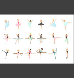 Ballerinas training in dance class set of flat vector