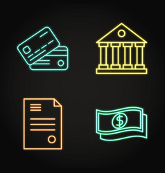banking icon set in neon line style vector image