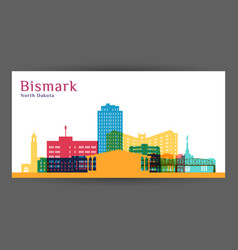 bismarck city architecture silhouette colorful vector image