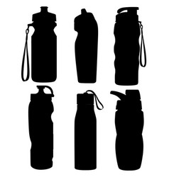 black silhouette collection sport bottles vector image