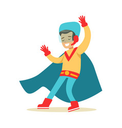 Boy pretending to have super powers dressed in vector