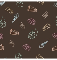 Brown pattern with sweets vector