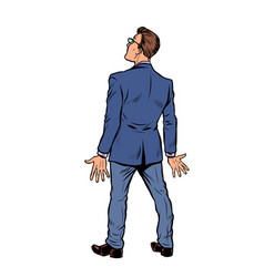 businessman stands back isolate on white vector image